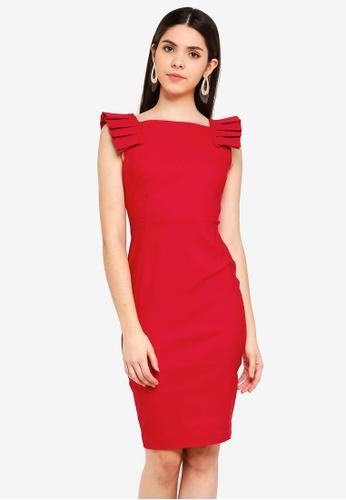 Vesper red Vesper Lucinda Midi Dress With Pleat Detail D96E1AAEC26E41GS_1