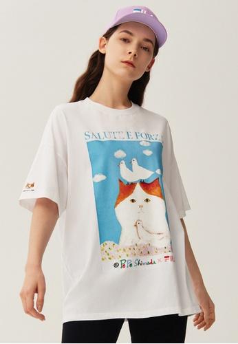FILA white FILA x Pepe Shimada Ginger Cat Print Dropped Shoulders Cotton T-shirt B02DFAACF2342CGS_1