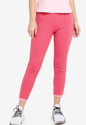ZALORA ACTIVE pink High Waist Ribbed Tights F27C8AA6053DFFGS_1