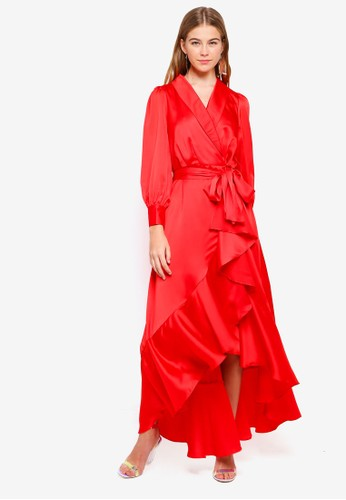 bYSI red Ruffle Wrap Robe Dress B8DBBAAA4B0D8FGS_1