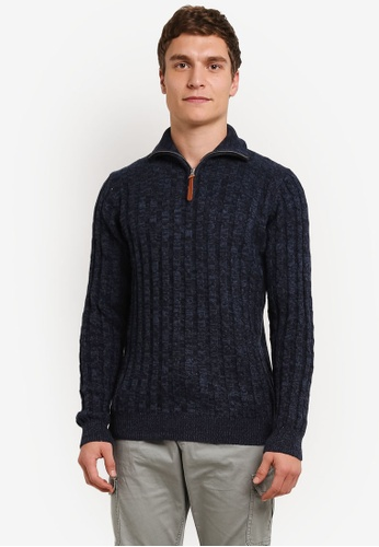 Indicode Jeans blue and navy Rufus High Neck Cable Knit Sweater IN815AA0ROLCMY_1