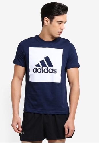 adidas 海軍藍色 運動短袖Logo印花T恤 22052AA6A037E3GS_1
