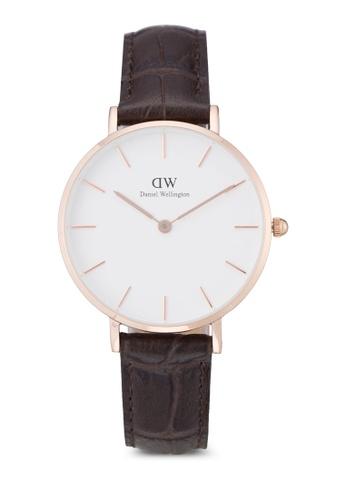 Daniel Wellington gold and brown Classic Petite York Watch DA376AC55PLWMY_1