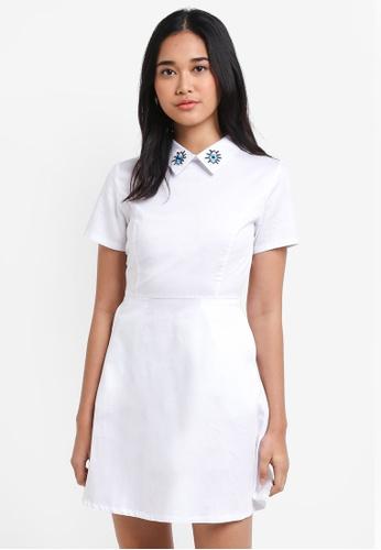Something Borrowed white Collar Detail Fit & Flare Dress E5DFBAA4EBF2E4GS_1