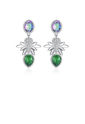 Glamorousky green 925 Sterling Silver Elegant Romantic Fashion Honeybee Earrings with Austrian Element Crystal 58221AC9820D5FGS_1