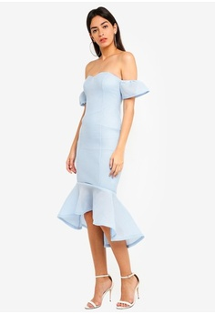 3f24ec964b3fdf Psst... we have already received your request. MISSGUIDED. Bonded Fishnet  Bardot Midi Dress