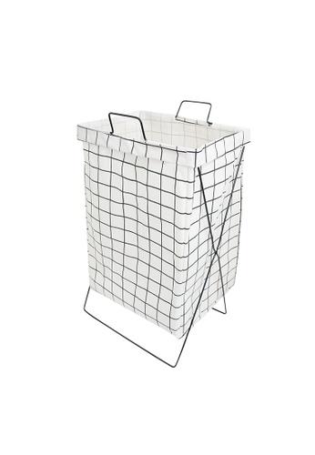 HOUZE white HOUZE - White Checkered Laundry Bag with Matt Gold Steel Frame A799BHL6C97E50GS_1