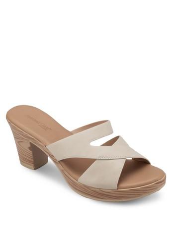木紋粗跟交叉esprit品牌介绍帶涼鞋, 女鞋, 中跟