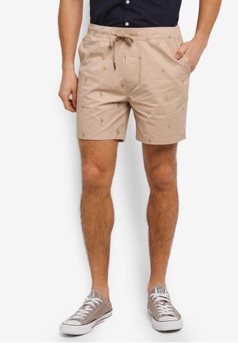 JAXON beige Cactus Motif Easy Shorts 0DE95AA4238C4EGS_1