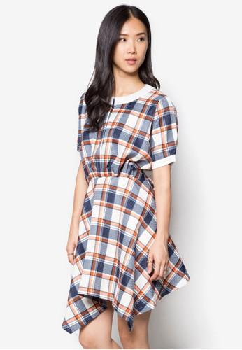 esprit 台中格紋不對稱下擺連身裙, 服飾, 短洋裝