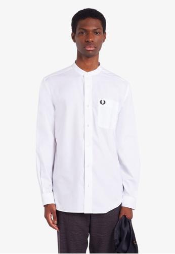 Fred Perry white M9603 - Grandad Collar Shirt - (WHITE) EB7ECAA03CE55AGS_1