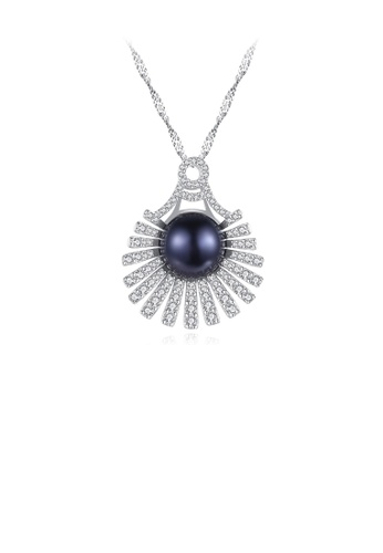 Glamorousky black 925 Sterling Silver Elegant Bright Geometric Fan-shaped Black Freshwater Pearl Pendant with Cubic Zirconia and Necklace 54CC1ACEA9F01EGS_1
