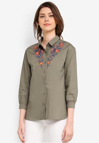 Zalia green Embroidered Shirt FBACEAA0C26710GS_1