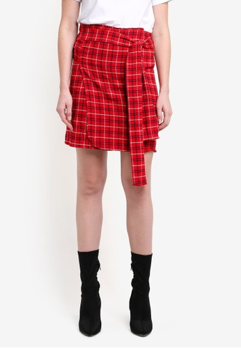 Mango red Checked Skirt MA193AA0RMJBMY_1