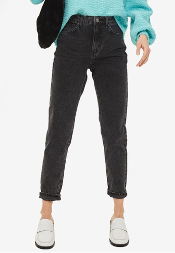 TOPSHOP black Moto Washed Black Mom Jeans TO412AA0SD5HMY_1