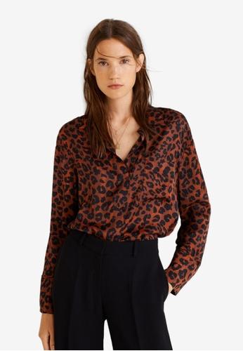 Mango brown Chest-Pocket Printed Shirt 160F6AA7721C34GS_1