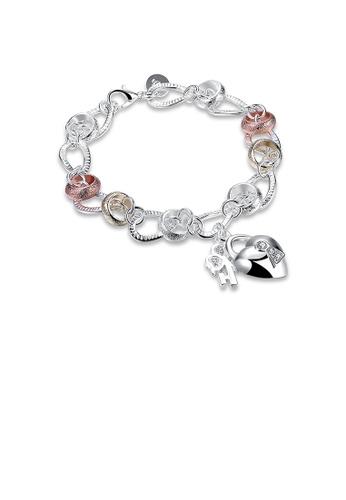 Glamorousky white Simple Heart Lock Flower Key Bracelet with Austrian Element Crystal 06F79ACA6EC862GS_1