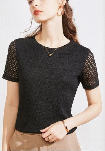 HAPPY FRIDAYS black Short-Sleeves Lace Blouse JW GW-J168 1FB70AABBE22FBGS_1