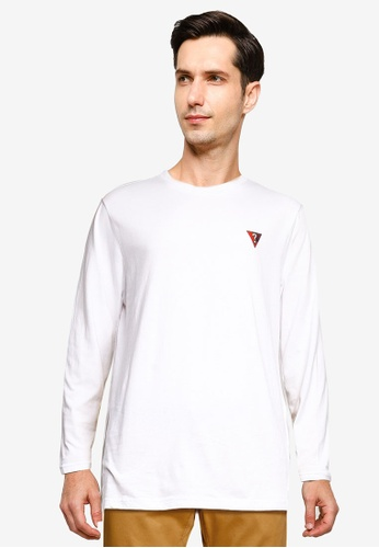 Guess 白色 Guess Question Mark 長袖T恤 399D4AA0FEB214GS_1