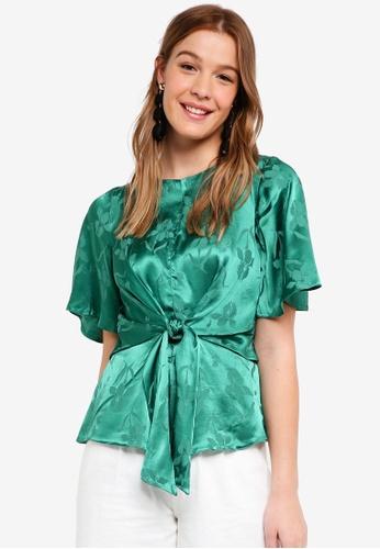 Dorothy Perkins green Green Jacquard 3/4 Sleeve Top 07088AA7E72CA9GS_1