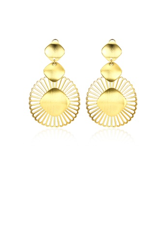 Glamorousky silver Simple Golden Round Earrings CCB25ACF77B8A4GS_1
