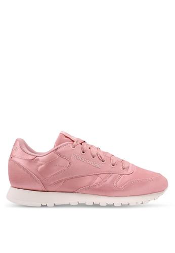 Reebok pink CL LTHR Satin Shoes 785EFSH1458832GS_1