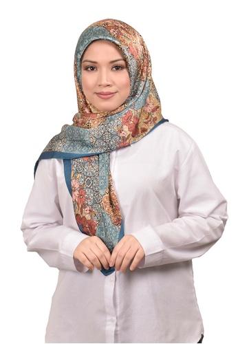 FATIMÉ 紅色 and 藍色 and 褐色 緞面方巾Hijab Malindo(藍色) 80E64AA2F45771GS_1
