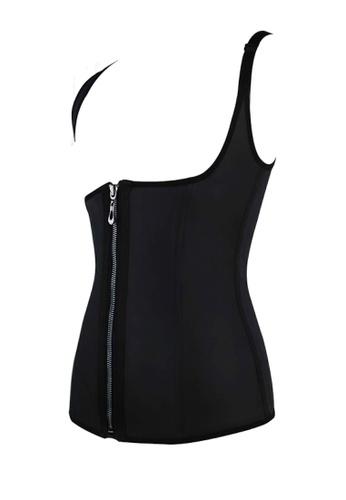 Golden Ticket Super Savers black Latex Sando Vest Steel Boned Waist Trainer - Upper Body Fat  Burning 3EB50US441E697GS_1