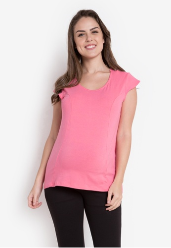 Belly Bump pink Maternity Top Cap Sleeved Princess Cut BE217AA0K3LCPH_1
