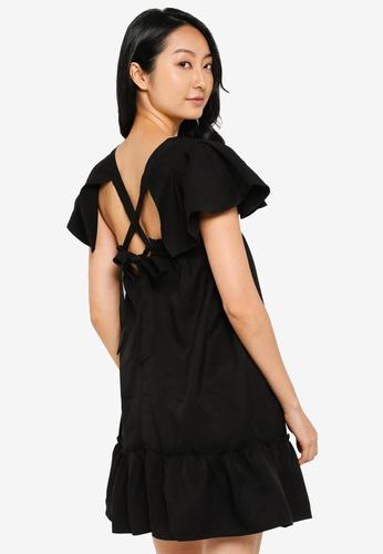 ZALORA BASICS 黑色 Babydoll Mini Dress 9D69EAAD2E5B6FGS_1