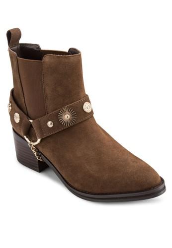 Odell 造型鉚釘麂esprit 品牌皮高筒踝靴, 韓系時尚, 梳妝