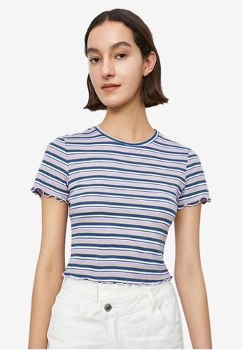Urban Revivo purple Stripe Short Sleeve Top 08B23AAB8EEF9CGS_1
