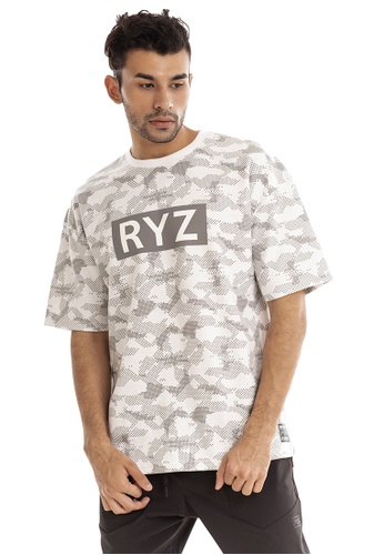 RYZ white RYZ Script Logo Print White Short Sleeve Sweat T-Shirt. 22B1AAAA45C06CGS_1