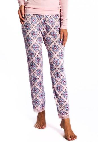 Museesprit專櫃 斜格紋印花睡褲, 服飾, 服飾