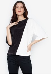 Folded & Hung white Loose Ls Rn Plain Color-Combi Electric Pleated Top 699ABAA95072A1GS_1