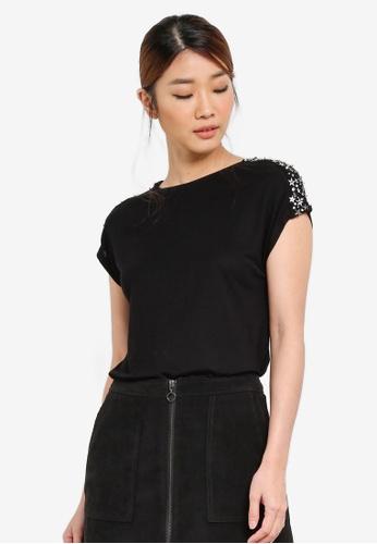 WAREHOUSE black Star Embellished Shoulder Tee WA653AA0SHL9MY_1