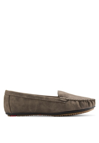 Noveni brown Stitch Detail Loafers NO978SH51EOMMY_1