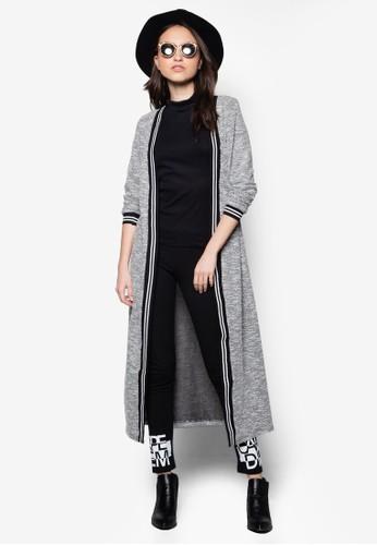 撞色滾邊超長開襟外套, zalora 衣服評價服飾, 毛衣& 針織外套
