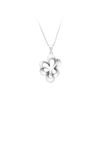 Glamorousky silver 925 Sterling Silver Flower Pendant with Necklace 4BB05AC0626186GS_1