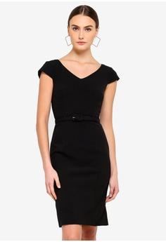 b6a0cb657d FORCAST black Rowan Belted Dress 652B8AA9446F48GS 1