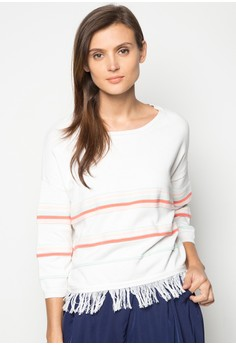 Long Sleeves Pullover with Fringe Detail