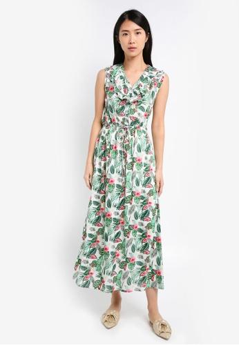 ZALORA white V Neck Tie Waist Maxi Dress DA996AA51ACA54GS_1