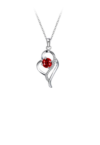 Glamorousky white Elegant and Fashion Heart Pendant with Red Cubic Zircon and Necklace 62085AC52CED1FGS_1