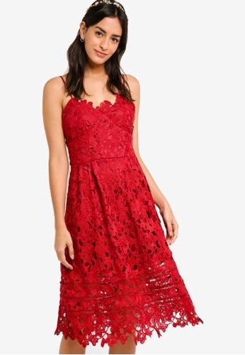 ZALORA red Bridesmaid Cami Strap Lace Midi Dress B5FD1AAAC69B5FGS_1