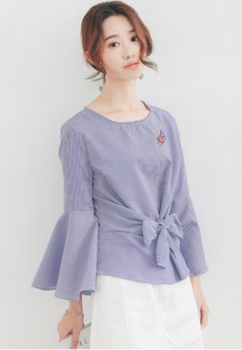 Shopsfashion blue Cherry Flare Sleeve Blouse B3DEDAAFD16052GS_1