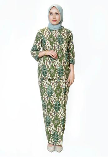 House Of Olsha green and multi Batik Cotton Kurung Kedah - Uda Green 1CD63AA97181F9GS_1