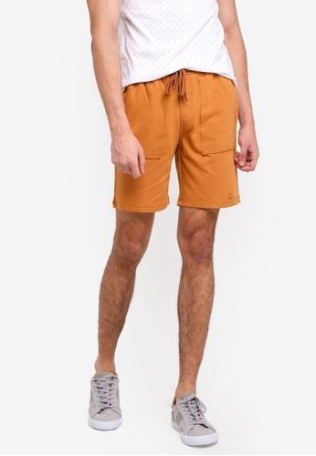 Penshoppe 米褐色 休閒抽繩短褲 0C729AA7C5AD53GS_1