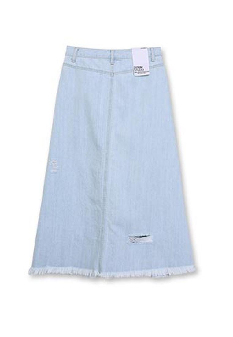 Skirt Denim CONNECT Light Blue H Ripped twA5dAq