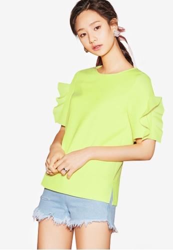 NAIN green Frill Sleeve Top 34D1FAA593CA7DGS_1