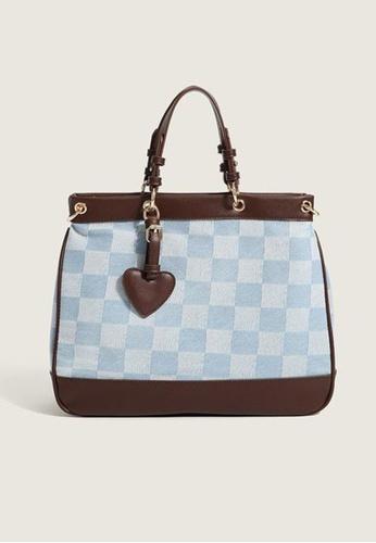 Lara brown Women's Check Tote Bag Cross-body Bag - Brown 91281AC1A8A0D3GS_1
